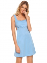 Blue Backless Sleeveless Ruched Waist Tie Up Solid Dress
