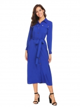 Dark blue Women Long Sleeve Button Down Casual Loose Fit Maxi Shirt Casual Dress