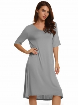 Light gray V-Neck Half Sleeve Solid Split Loose Dress