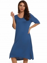 Navy blue V-Neck Half Sleeve Solid Split Loose Dress