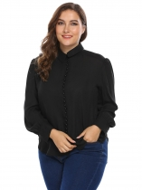 Black Curved Hem Solid Shirt Plus Size