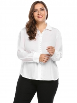 White Curved Hem Solid Shirt Plus Size