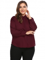 Wine red Curved Hem Solid Shirt Plus Size