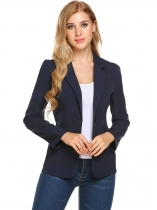 Navy blue New Women Ultra Lightweight Open Front Solid Cardigan Blazer Jacket