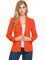 Orange red New Women Ultra Lightweight Open Front Solid Cardigan Blazer Jacket