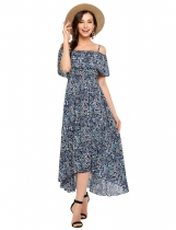 Blue Bohemian Style Spaghetti Strap Ruffled Prints Long Dress