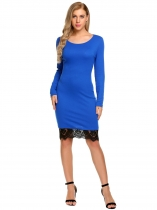 Blue Long Sleeve Lace-Trim Patchwork Dress