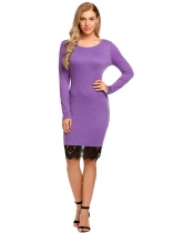 Purple Long Sleeve Lace-Trim Patchwork Dress