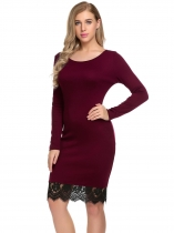 Wine red Long Sleeve Lace-Trim Patchwork Dress