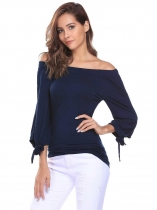 Blue Slash Neck Off the Shoulder 3/4 Sleeve Bow Cuffs Tops
