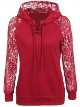 Wine red Long Sleeve Lace Patchwork Front Pullover Pocket Hoodie