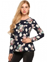 Navy blue Floral Crew Neck Long Sleeve Loose Blouse