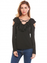 Black Women Casual V-Neck Long Sleeve Crossing Straps Cold the Shoulder Ruffle Sexy Blouse Tops