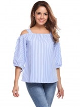Femmes Casual Flare Sleeve Tie Bracelet Loose Strappy Cold Shoulder Striped Shirt Blouse