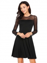 Black Long Sleeve Mesh Patchwork Skater Dress