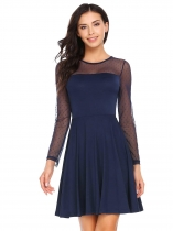 Navy blue Long Sleeve Mesh Patchwork Skater Dress