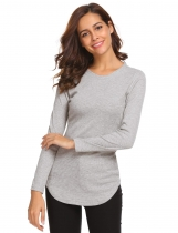 Grey Women O-Neck Long Sleeve Casual Slim Fit T-Shirt Tops