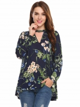 Navy blue Long Sleeve Front Hollow Out Floral Blouse Shirt