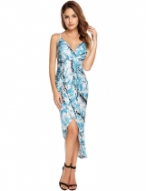 Blue Femmes Sexy sans manches Impression V Neck Cross Back Daped Front Bodycon Maxi Dress
