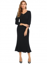 Black V-Neck Bow 3/4 Sleeve Maxi Fishtail Dress