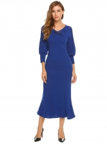 Blue Femme V-Neck Bow 3/4 Sleeve Evening Prom Party Maxi Fishtail Pencil Dress