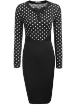 Black Long Sleeve Dot Patchwork Bodycon Pencil Dress