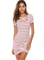 Red Short Sleeve Striped Slim Mini Dress
