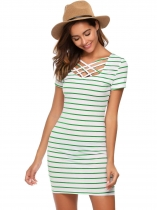 Green Short Sleeve Striped Slim Mini Dress