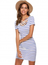 Blue Short Sleeve Striped Slim Mini Dress