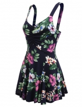 Navy blue Sleeveless Floral Print Shirring Slim Fit Dress