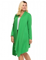 Green Plus Size Long Sleeve Solid Draped Open Front Asymmetrical Long Cardigan
