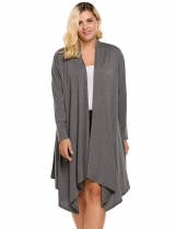 Gray Plus Size Long Sleeve Solid Draped Open Front Asymmetrical Long Cardigan