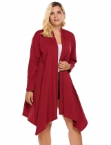 Wine red Plus Size Long Sleeve Solid Draped Open Front Asymmetrical Long Cardigan