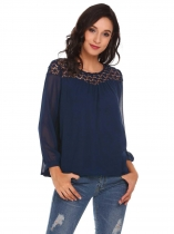Navy blue Long Sleeve Loose Patchwork Sexy Chiffon Shirt Tops