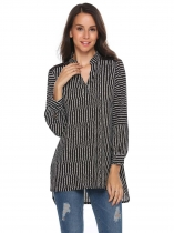 Black V-Neck Long Sleeve Lace Patchwork Striped Loose Blouse