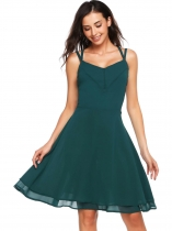 Dark green Sleeveless Solid Spaghetti Straps A-line Dress