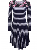 Navy blue Floral Print Striped Long Sleeve Flared A-Line Dress