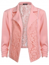 Pink Women Lapel 3/4 Sleeve Open Front Lace Patchwork Slim Short Blazer Jacket Plus