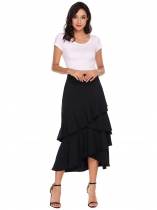 Black Ruffles Asymmetrical Hem Solid Skirts