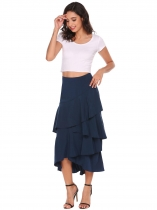Navy blue Ruffles Asymmetrical Hem Solid Skirts