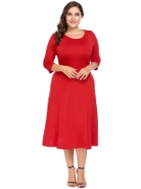 Red Women Plus Size 3/4 Sleeve A-Line Flared Midi Long Dress