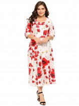 Watermelon red Plus Size Vintage Style Half Sleeve Floral Swing High Waist Dress