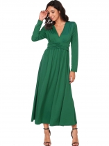 Dark green Long Sleeve Solid V Neck Pullover Ruched Front High Waist Maxi Evening Dress