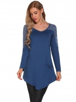 Blue V-Neck Long Sleeve Lace Patchwork Tops
