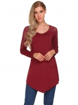 Vin rouge Rouge à vin Femmes V-Neck Long Sleeve Lace Patchwork Tunic Tops