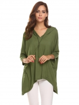 Army green Women Casual Drawstring Hooded Batwing Sleeve Asymmetrical Hem Sexy Blouse Casual Tops