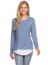 Bleu gris Bleu gris Femmes Casual O Neck Long Sleeve Patchwork Split and Asymmetrical Hem Blouse T Shirt Tops