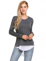 Dark gray Long Sleeve Patchwork Split and Asymmetrical Hem Blouse Tops