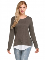 Brown gray Mujeres Casual O cuello de manga larga Patchwork Split y asimétrico Hem Blusa Camiseta Tops
