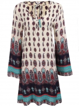 Beige Drawstring V-Neck Flare Long Sleeve Prints Loose Dress